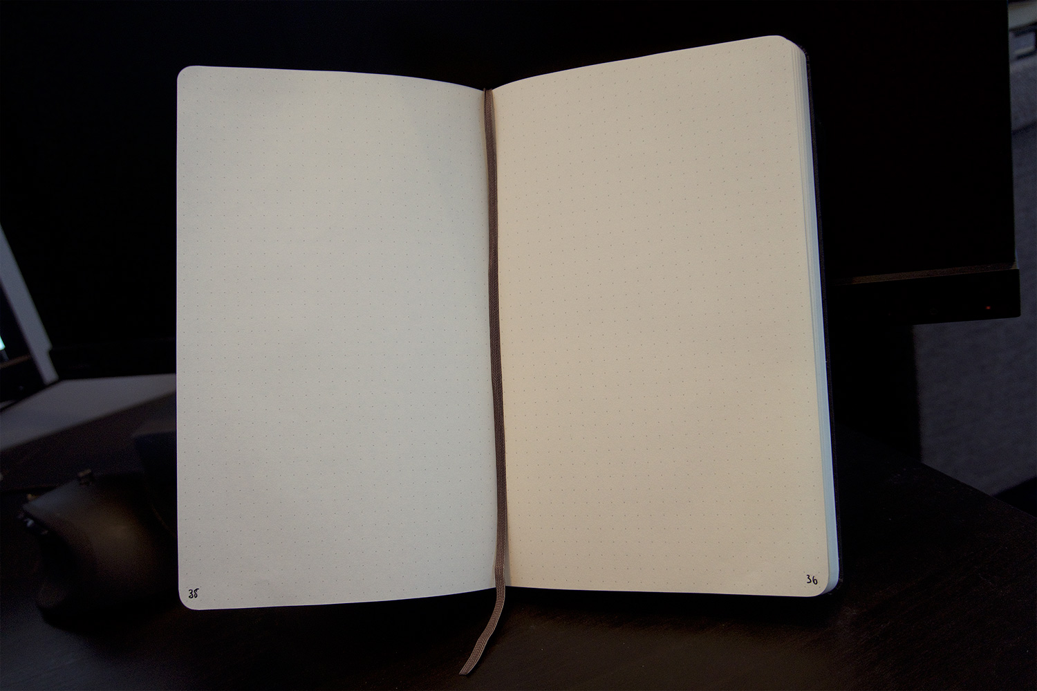 Dotted inside of the moleskin notebook