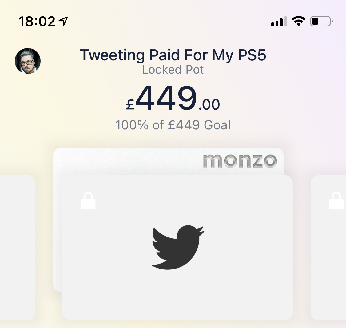 Image the monzo savings pot being 100% complete inside the iOS app